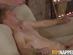 Lanky submissive Jaxon Radoc tied up and fed big dick