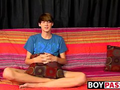 Sexy skinny twink Elijah White jerking cock after interview