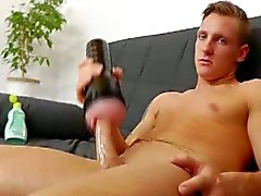 Handsome twink paul jerking in his nylon pantyhose