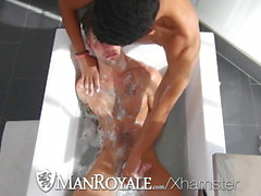 ManRoyale Two hunks orgasm at the same time