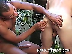 Buffed Latinos Doing Anal Outdoors