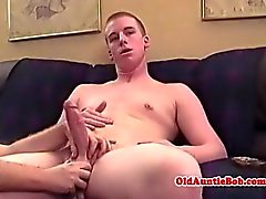 Old gay aunty toying with young guys dick
