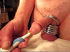 Close-up orgasm with urethral vibrator