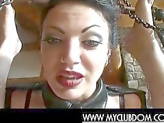 Femdom mistress watches her gay slave get facialzied