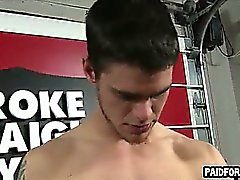 Straight amateur hunk tugs on his cock for money