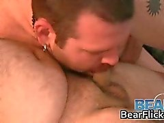 Two fat gay bears suck off some steam