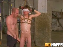 Bound blindfolded slave Alex Faux wax tormented by master