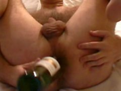 Harry anal masturbation with wine bottle