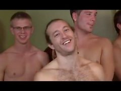 Hot shaved gay twink in gangbang suck