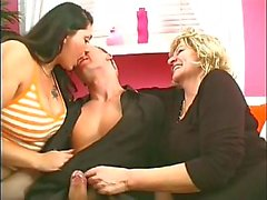 Thick bbw pair of older and younger woman fuck one lucky young guy's dick