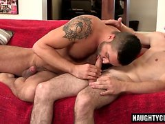 Brunette gay anal sex and cumshot