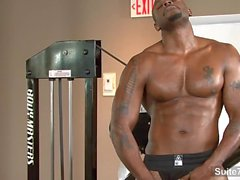 Hot black jock Diesel Washington fuck in gym