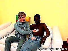 Sweety blonde amateur gay Cristian gives handjob to black