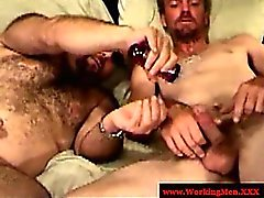 Mature straight bears wanking cock