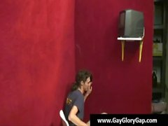 Gay gloryhole Gau handjobs and facial cumshot 25