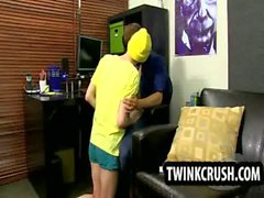 Blonde teen twink gives a blowjob