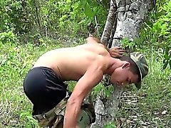 Gay private makes a rest-n-wank stop